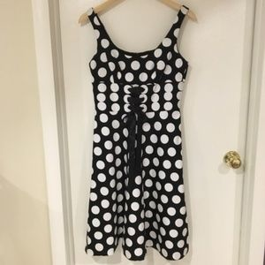 Donna Ricco Polka Dot Dress with Corset Lacing